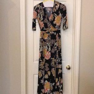 Botanical Print Wrap Maxi Dress